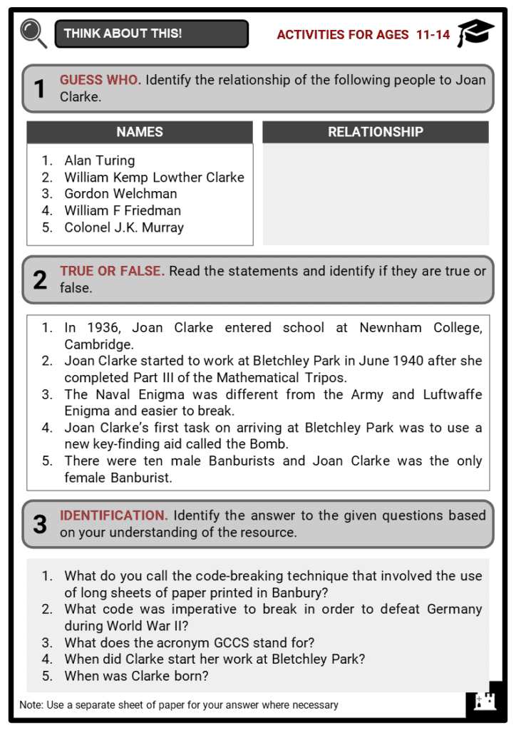 Joan Clarke Student Activities & Answer Guide 1