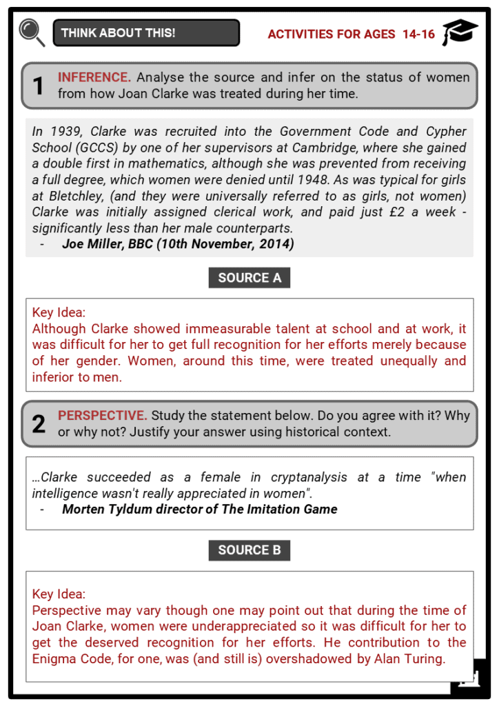 Joan Clarke Student Activities & Answer Guide 4