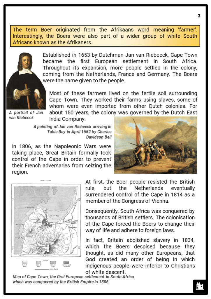KS3_Area 3_The South African Boer Wars_Printout 2