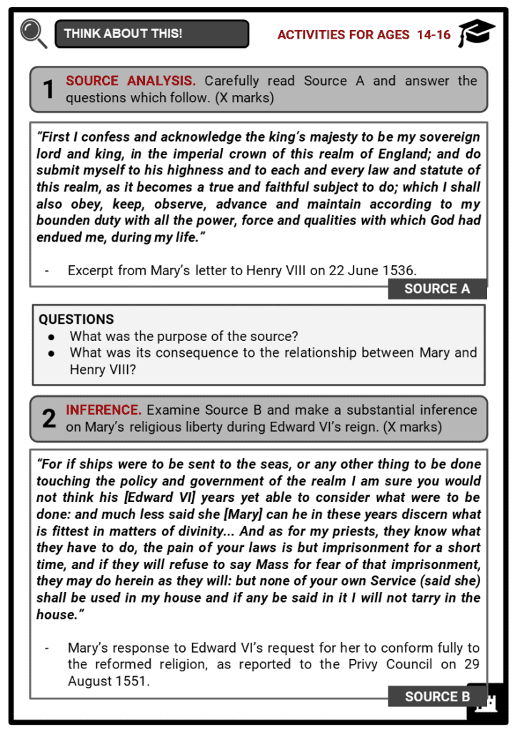 Mary I of England Student Activities & Answer Guide 3