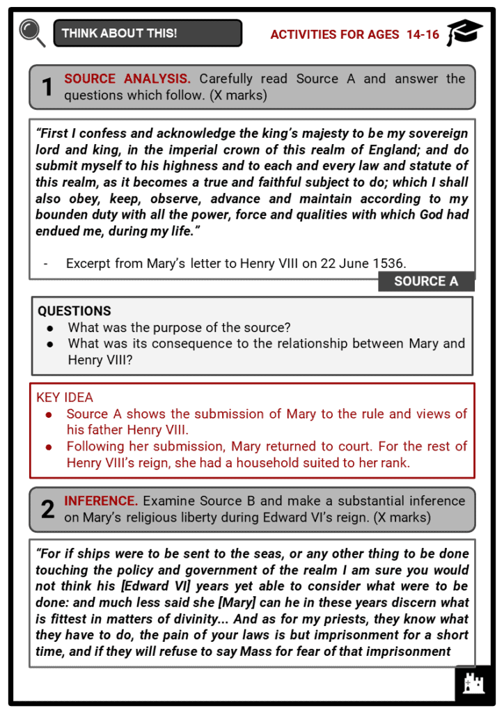 Mary I of England Student Activities & Answer Guide 4