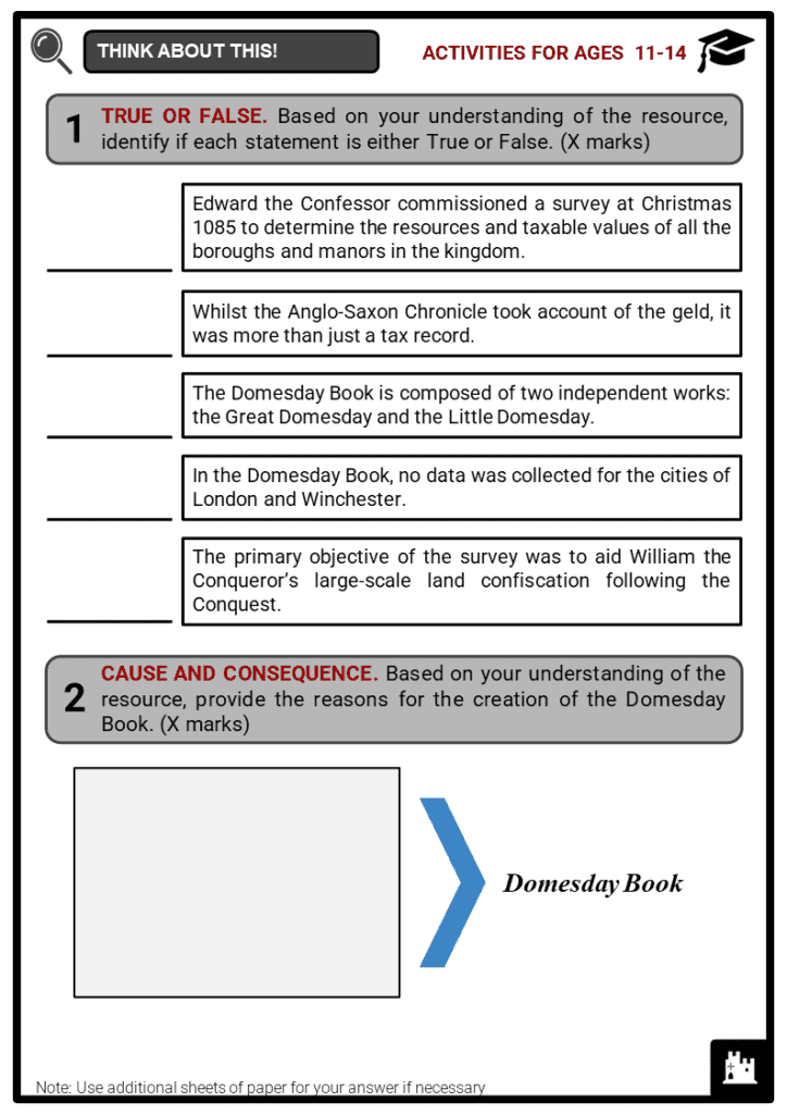 Domesday Book Student Activities & Answer Guide 1