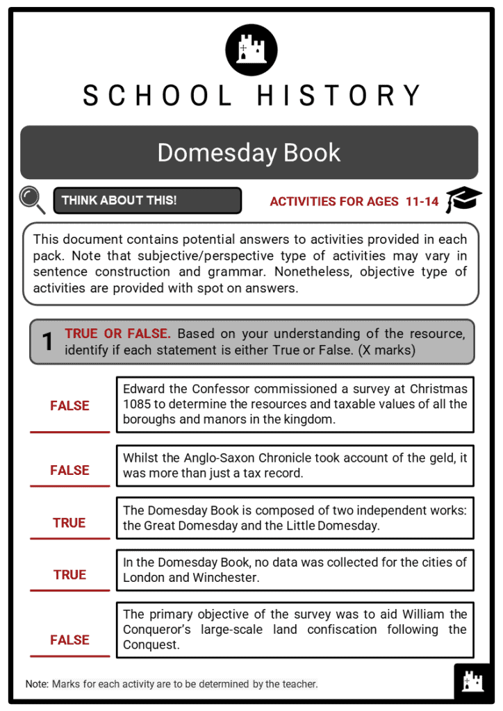 Domesday Book Student Activities & Answer Guide 2
