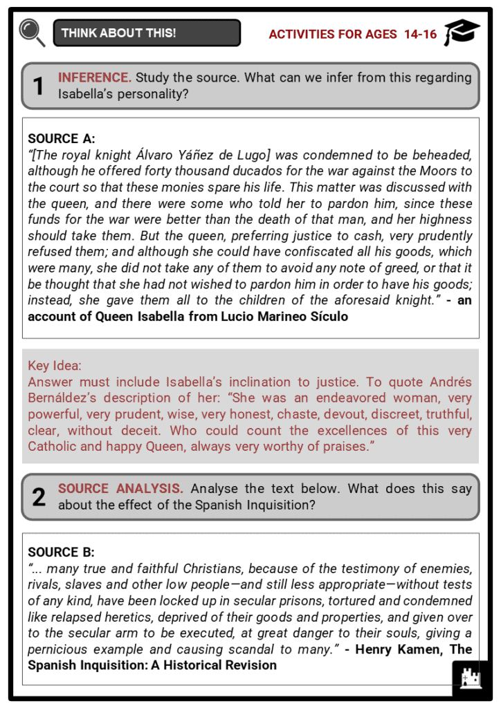 Isabella of Castile Student Activities & Answer Guide 4