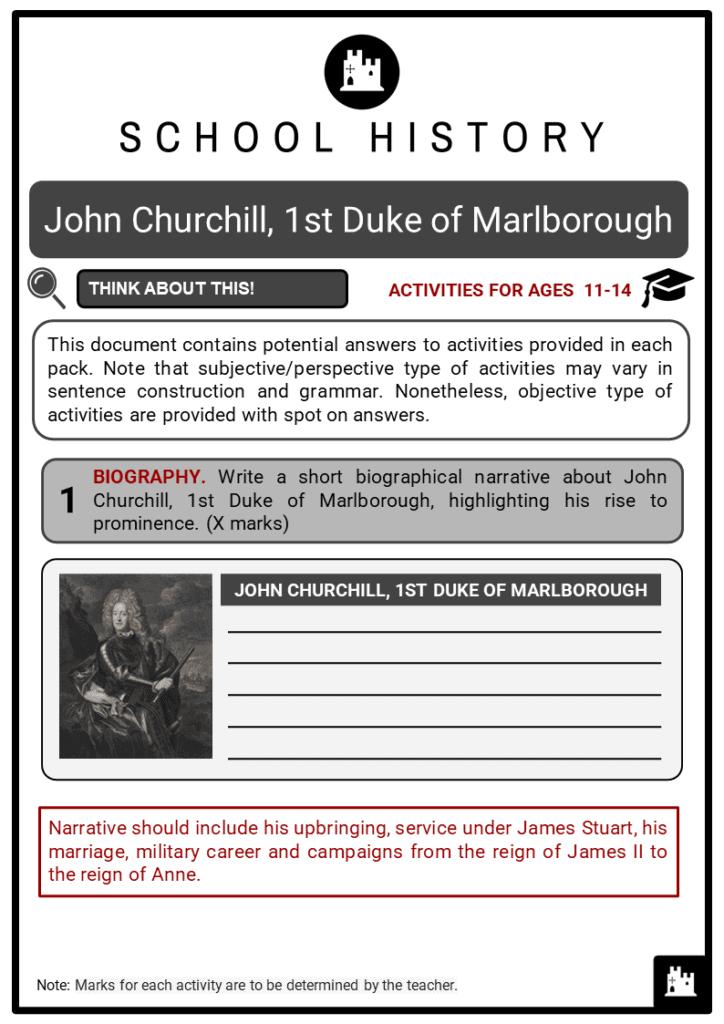 John Churchill, 1st Duke of Marlborough Student Activities & Answer Guide 2