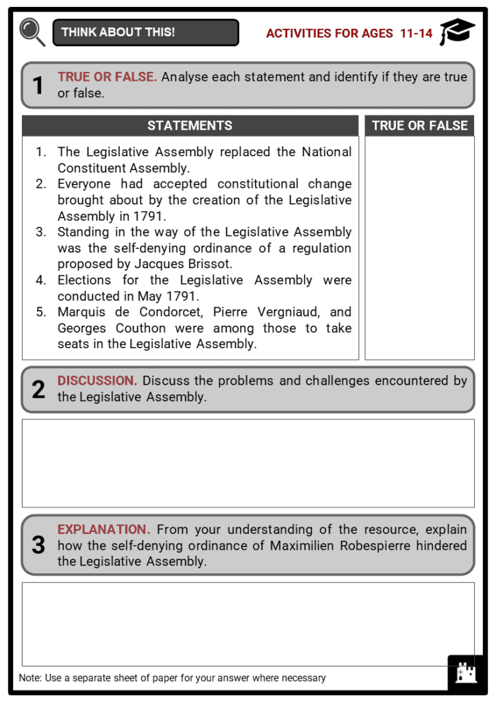 Legislative Assembly Student Activities & Answer Guide 1