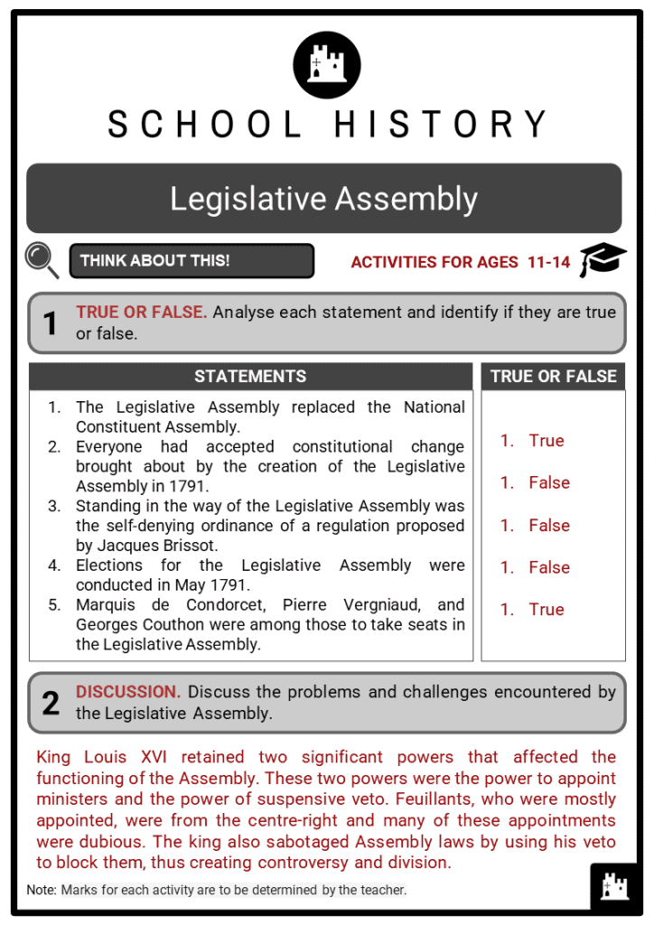 Legislative Assembly Student Activities & Answer Guide 2