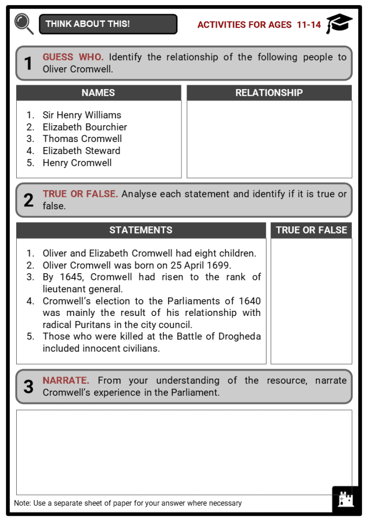 Oliver Cromwell Student Activities & Answer Guide 1