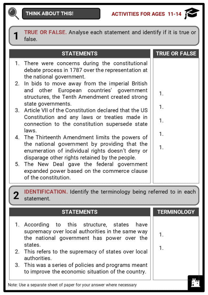 The Balance Of State and Federal Powers Student Activities & Answer Guide 1