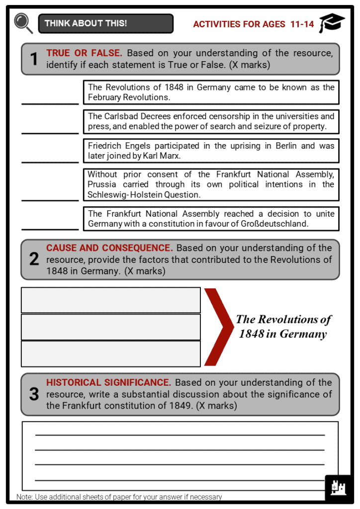 The Revolutions of 1848 in Germany Student Activities & Answer Guide 1