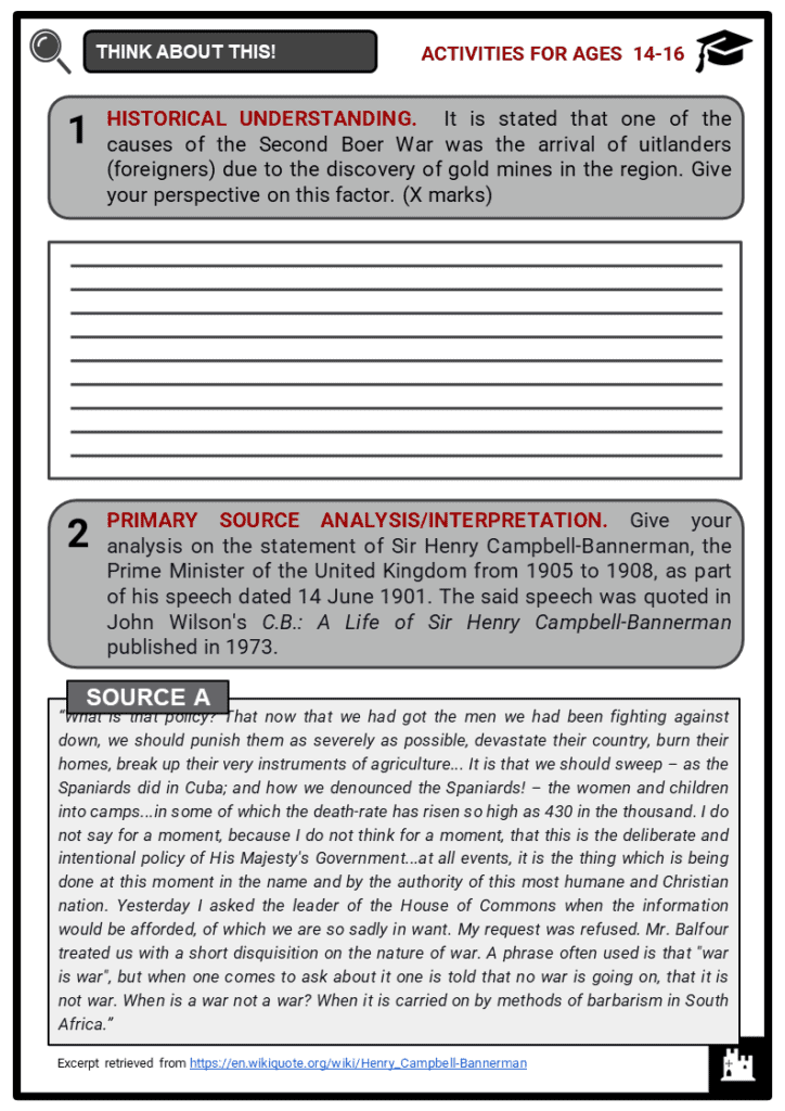 The Second Boer War Student Activities & Answer Guide 3