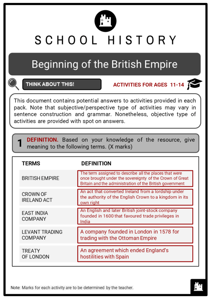 Beginning of the British Empire Student Activities & Answer Guide 2