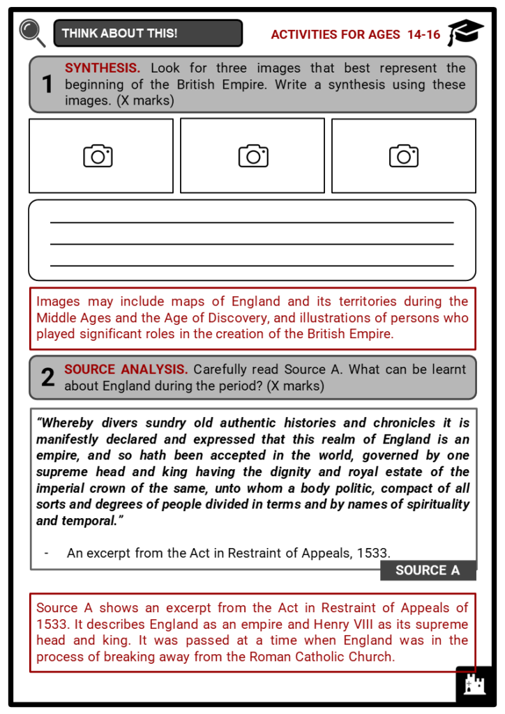 Beginning of the British Empire Student Activities & Answer Guide 4