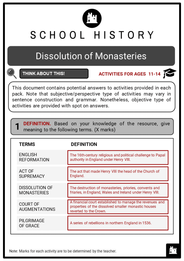 Dissolution of Monasteries Student Activities & Answer Guide 2