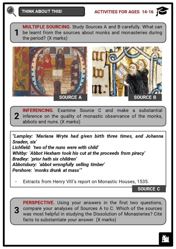 Dissolution of Monasteries Student Activities & Answer Guide 3