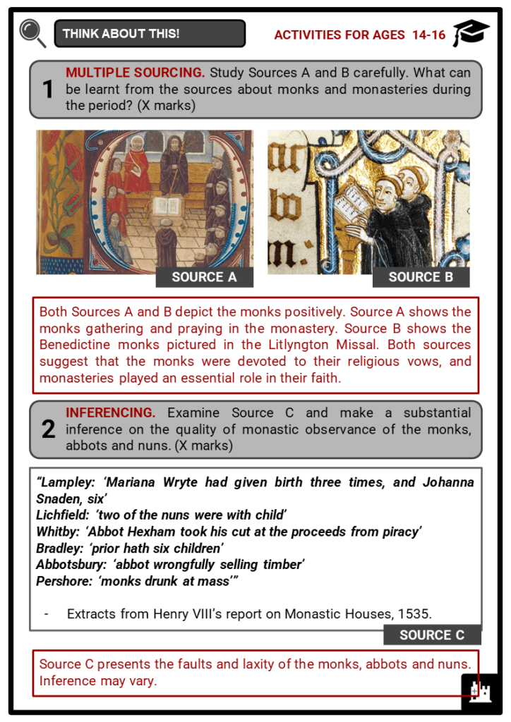 Dissolution of Monasteries Student Activities & Answer Guide 4