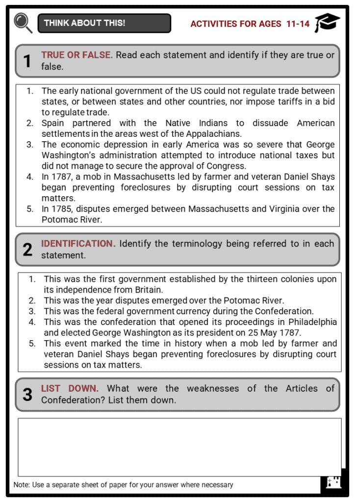 Early Challenges of the Confederation Student Activities & Answer Guide 1