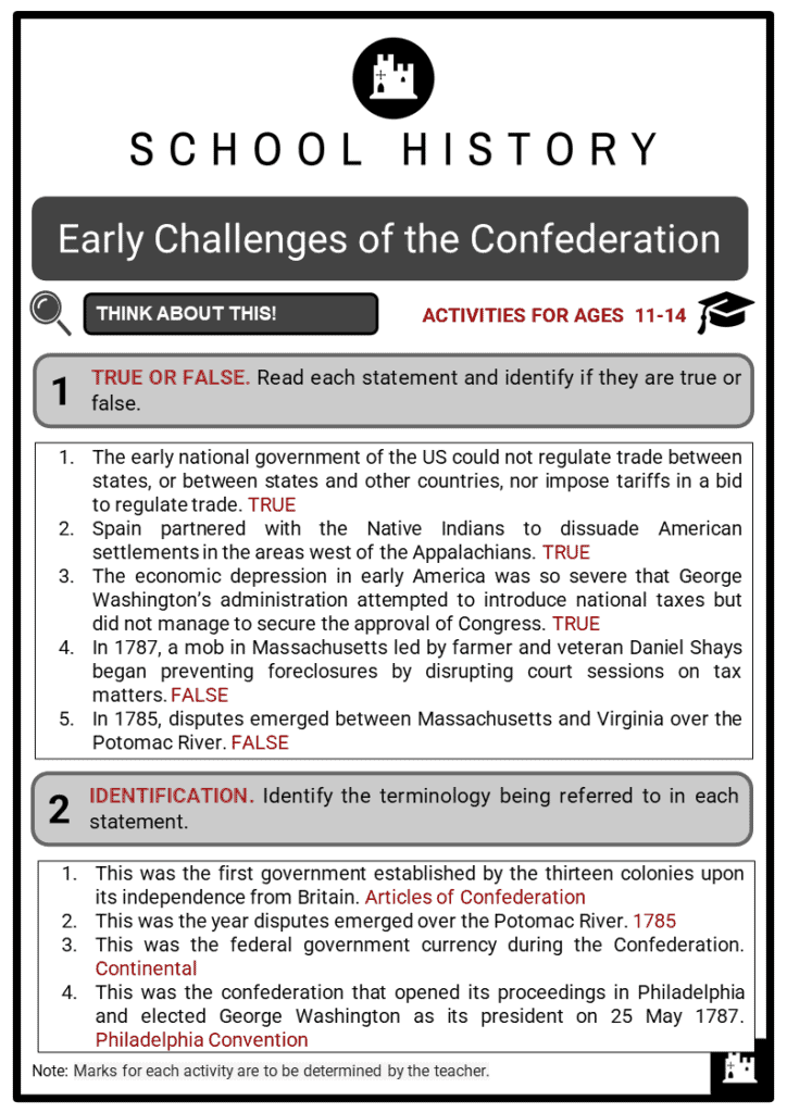 Early Challenges of the Confederation Student Activities & Answer Guide 2