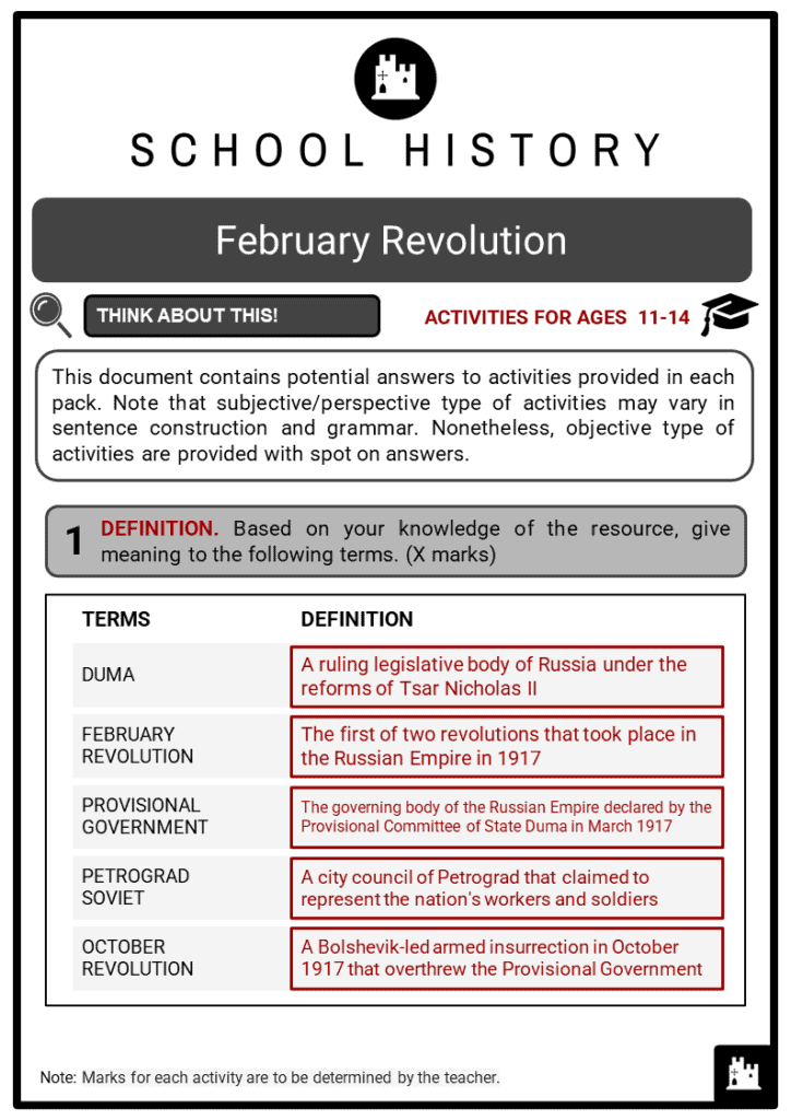 February Revolution Student Activities & Answer Guide 2