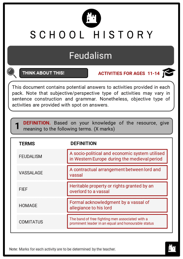 Feudalism Student Activities & Answer Guide 2