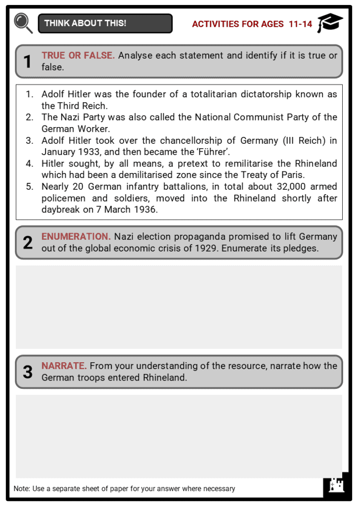 Remilitarisation of the Rhineland Student Activities & Answer Guide 1