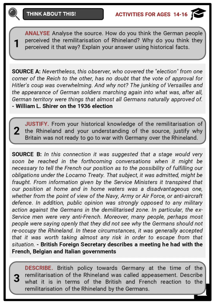 Remilitarisation of the Rhineland Student Activities & Answer Guide 3