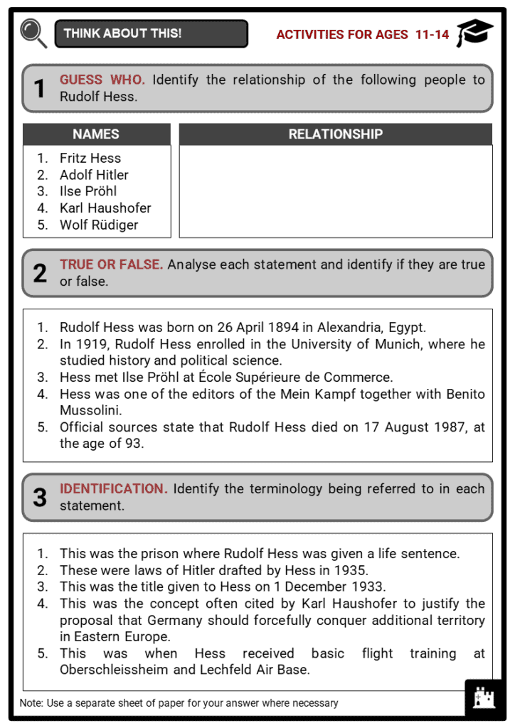 Rudolf Hess Student Activities & Answer Guide 1