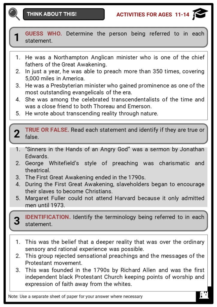 The First _ Second Great Awakening Student Activities & Answer Guide 1