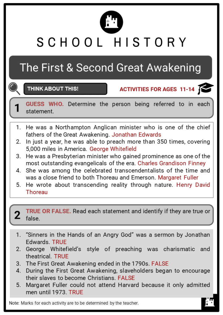 The First _ Second Great Awakening Student Activities & Answer Guide 2