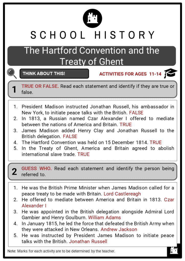 The Hartford Convention and the Treaty of Ghent Student Activities & Answer Guide 2