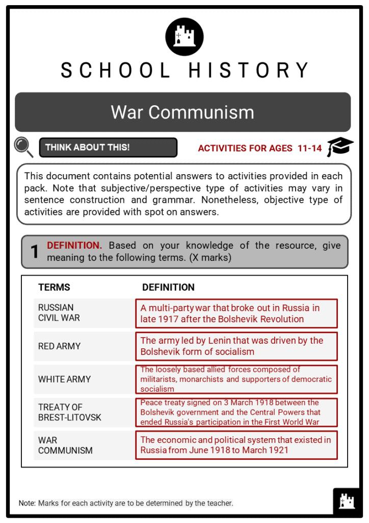 War Communism Student Activities & Answer Guide 2