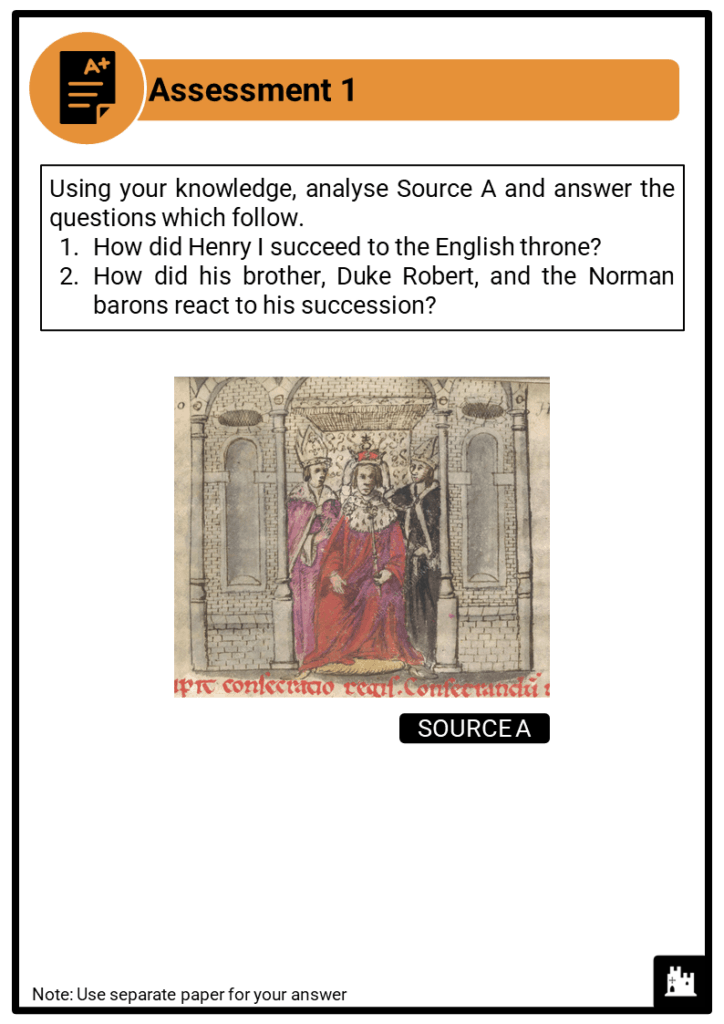 A Level Henry I, 1100-1135 Assessment 1