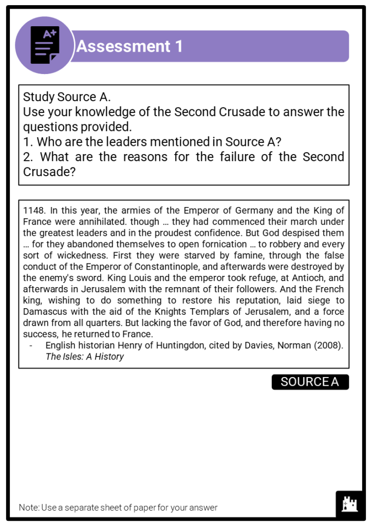 A Level Leadership of the Crusades, 1095-1192 Assessment 1