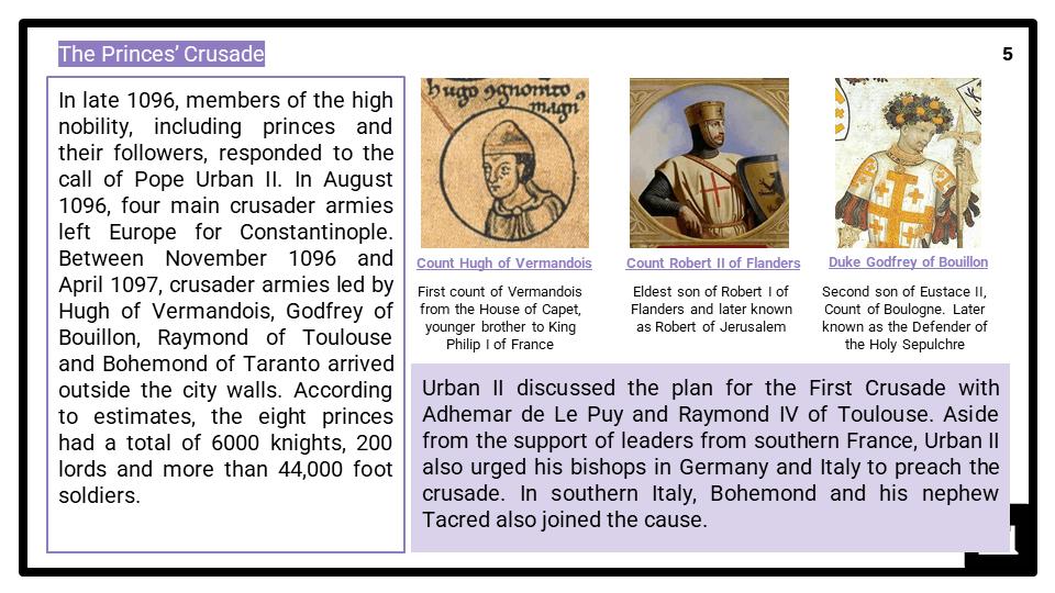A Level Leadership of the Crusades, 1095-1192 Presentation 1