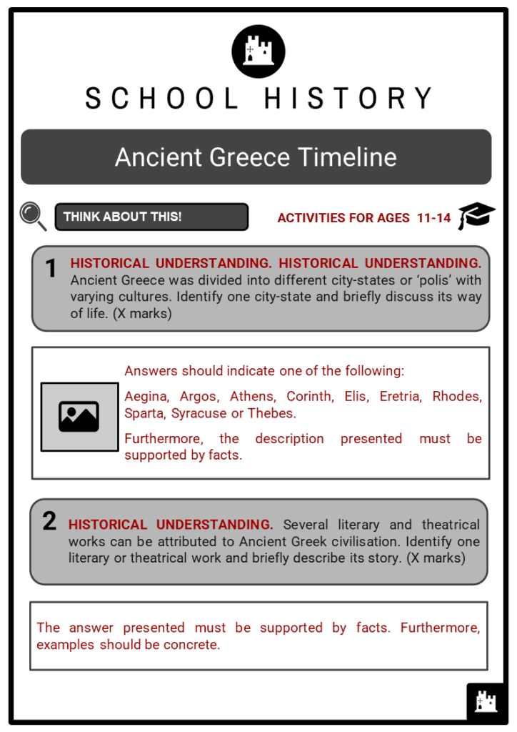 Ancient Greece Timeline Student Activities & Answer Guide 2