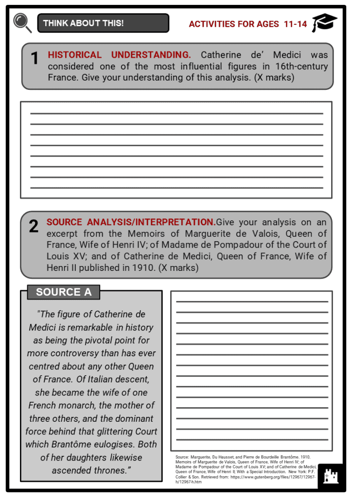 Catherine de' Medici Student Activities & Answer Guide 1