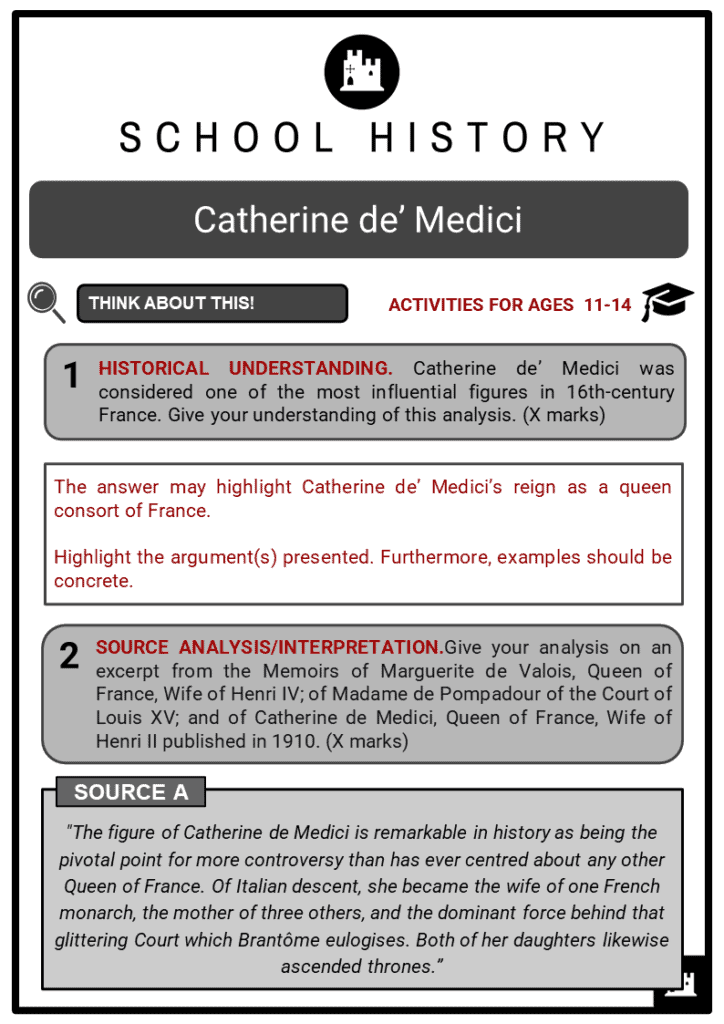 Catherine de' Medici Student Activities & Answer Guide 2