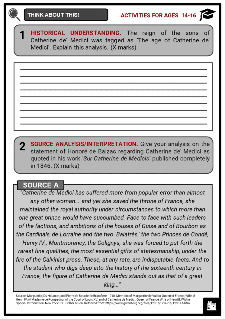 Catherine de' Medici Student Activities & Answer Guide 3