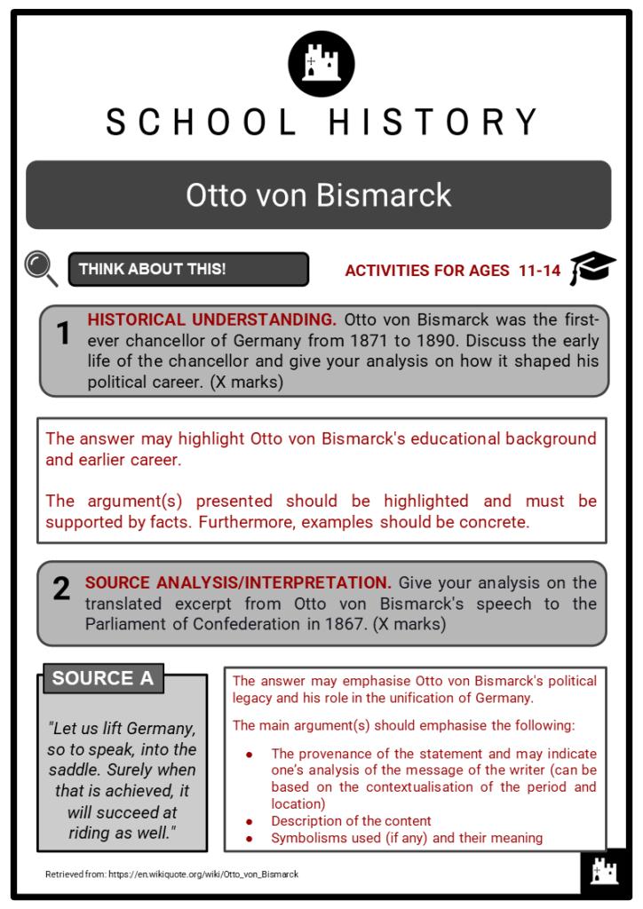 Otto von Bismarck Student Activities & Answer Guide 2