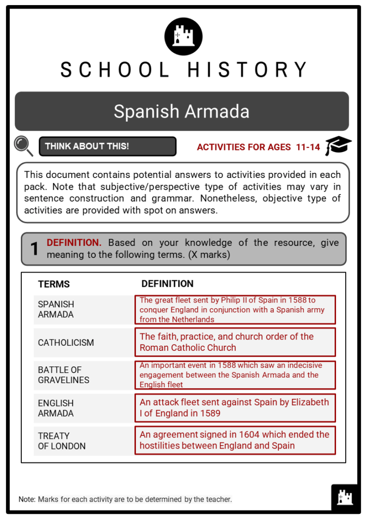 Spanish Armada Student Activities & Answer Guide 2