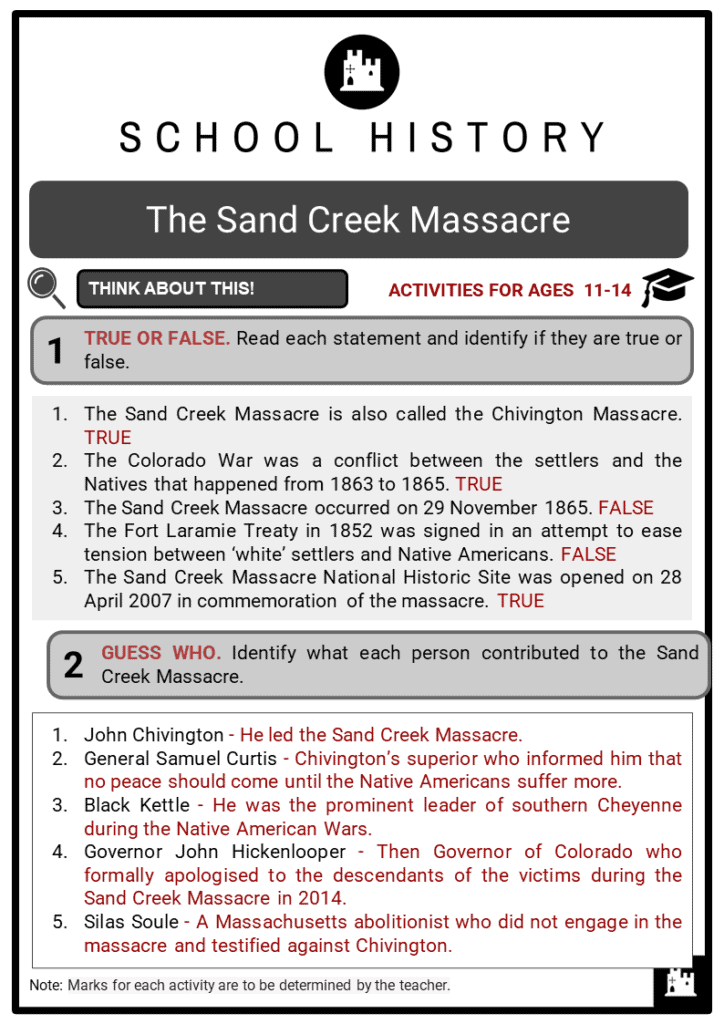 The Sand Creek Massacre Student Activities & Answer Guide 2