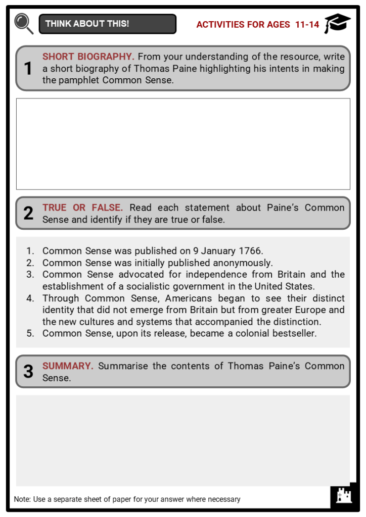 Thomas Paine's Common Sense _ its impact on the American Revolution Student Activities & Answer Guide 1