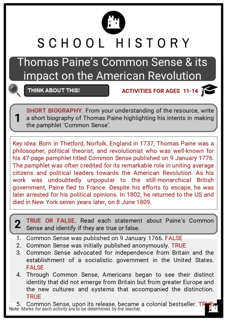 Thomas Paine's Common Sense _ its impact on the American Revolution Student Activities & Answer Guide 2