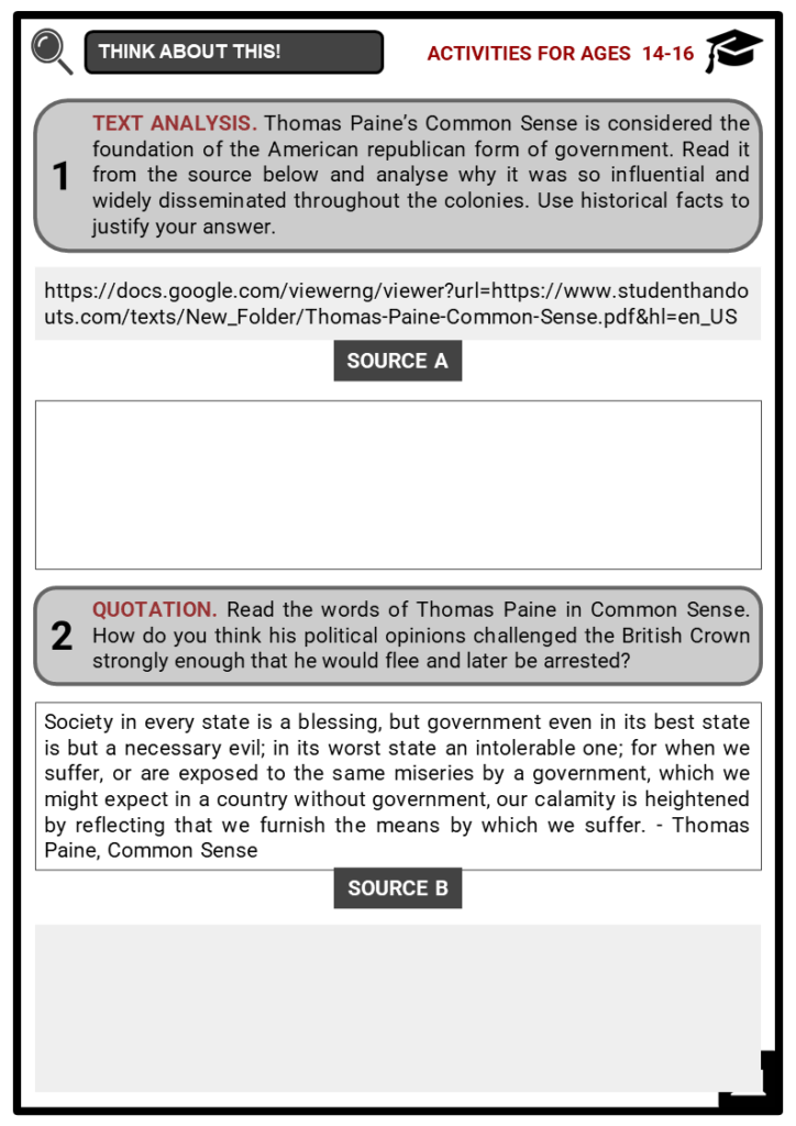 Thomas Paine's Common Sense _ its impact on the American Revolution Student Activities & Answer Guide 3