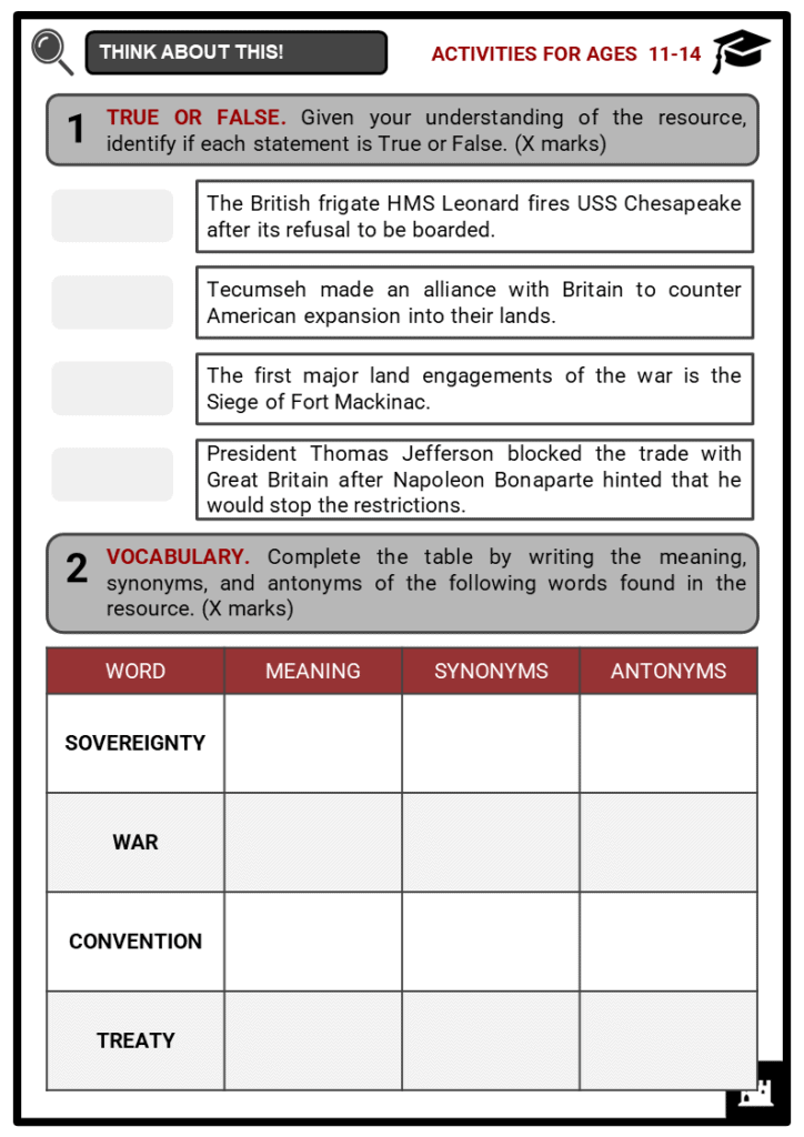 Timeline of War of 1812 Student Activities & Answer Guide 1
