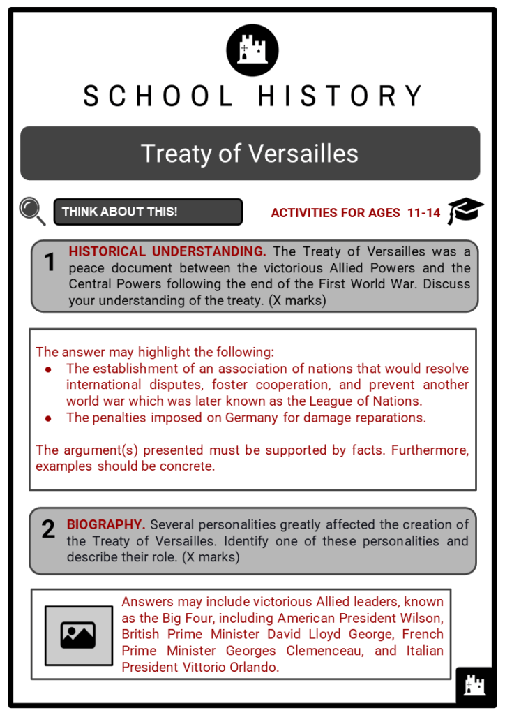 Treaty of Versailles Student Activities & Answer Guide 2