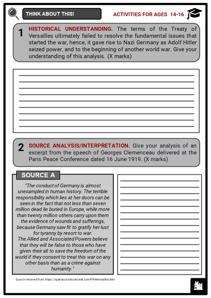 Treaty of Versailles Student Activities & Answer Guide 3