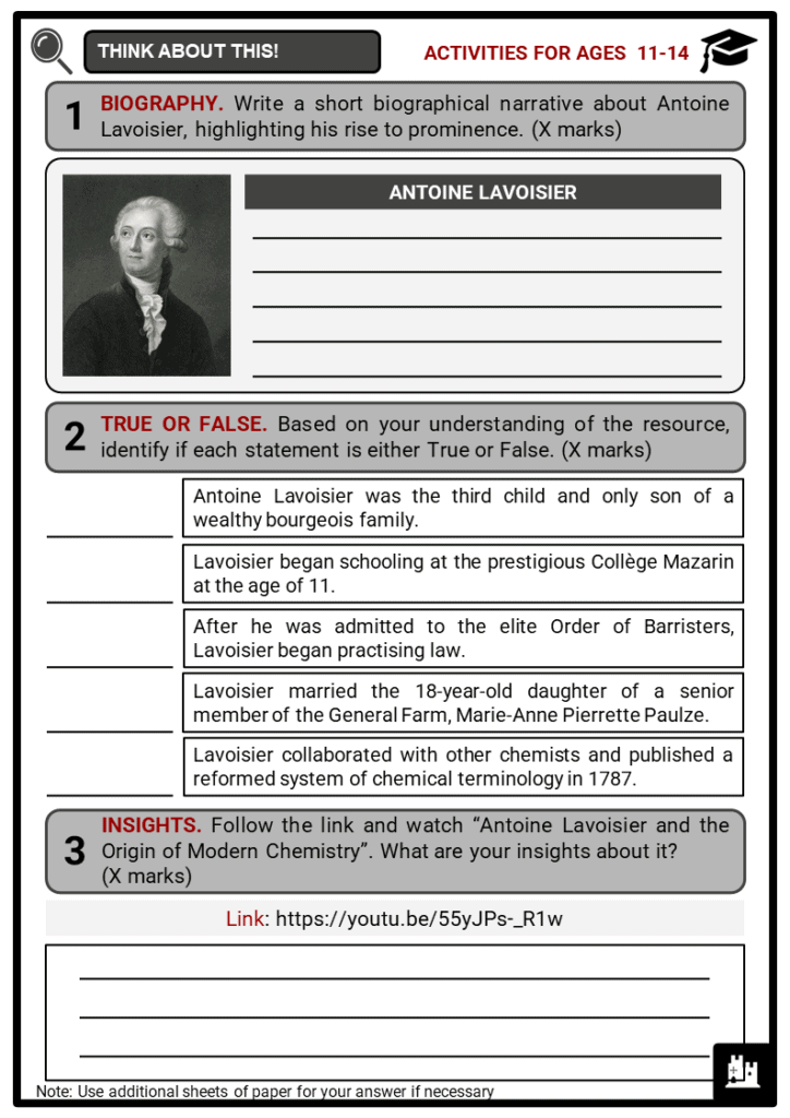 Antoine Lavoisier Student Activities & Answer Guide 1