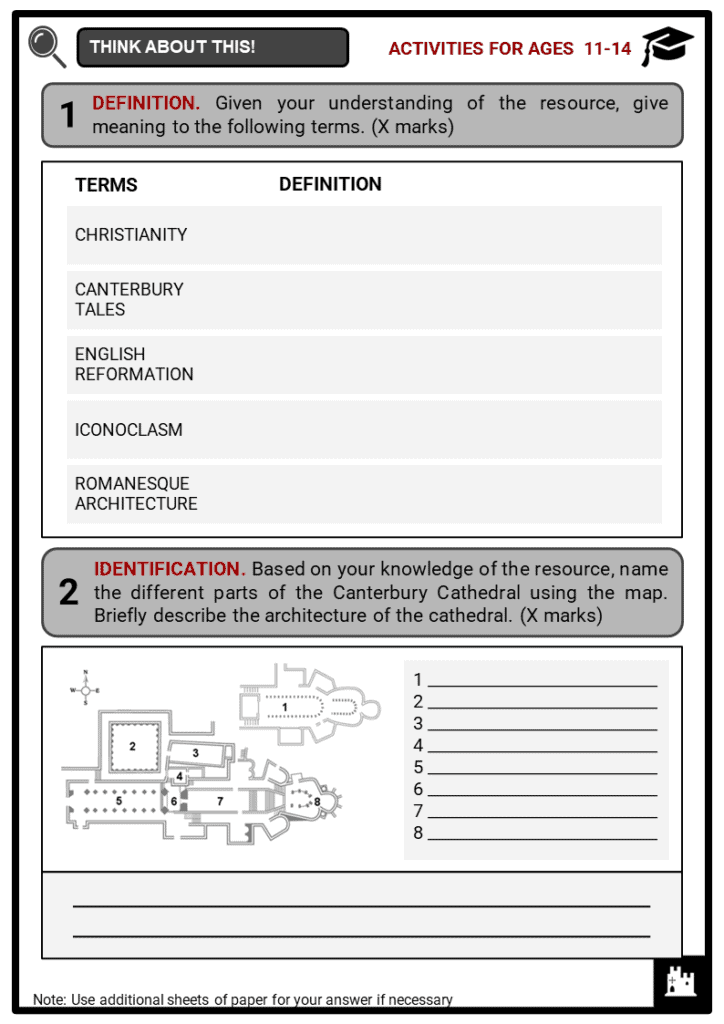 Canterbury Cathedral Student Activities & Answer Guide 1