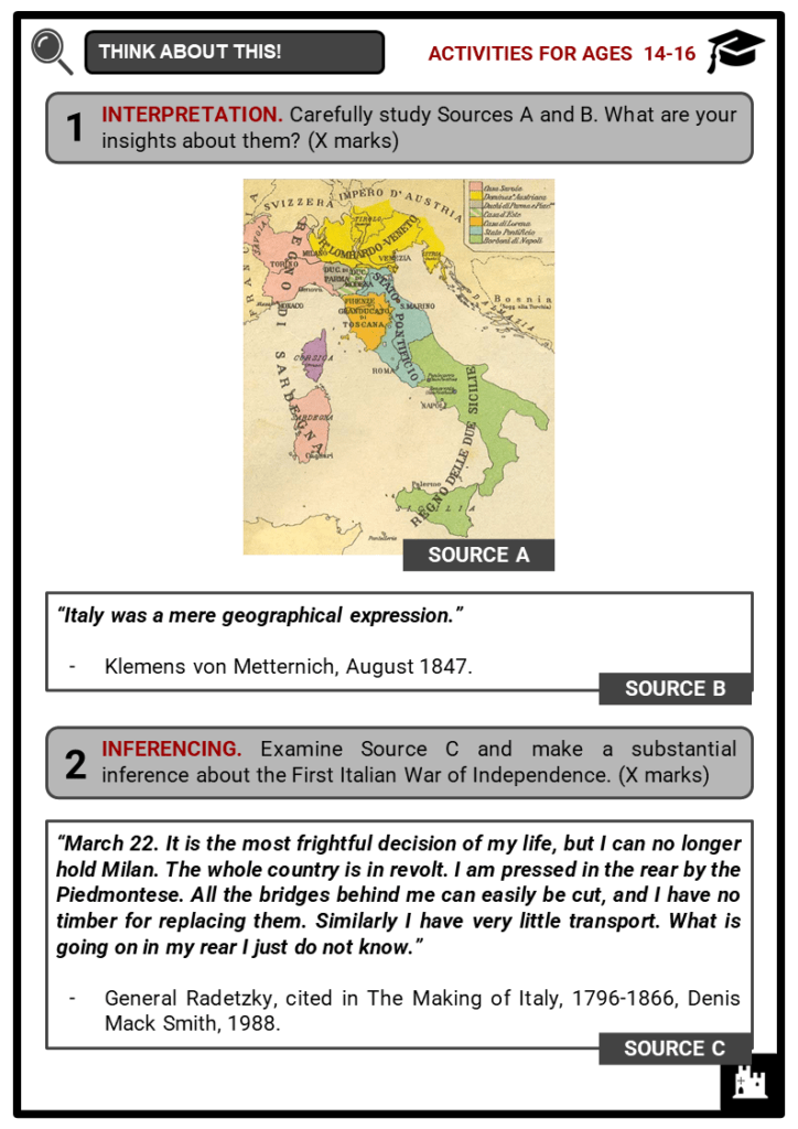 First Italian War of Independence Student Activities & Answer Guide 3